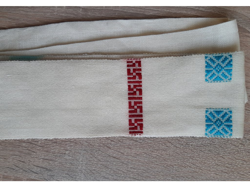 Tkaný pás - svastika na modré