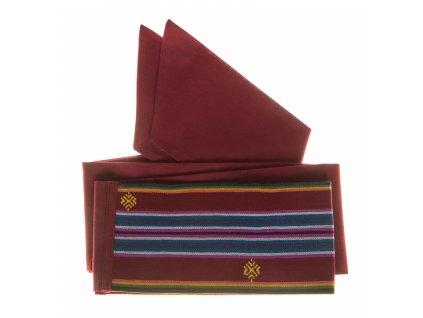 Tkaný pás - červený bohatě zdobený
