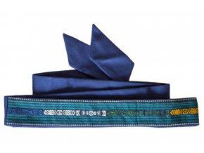 Tkaný pás - Zelené proužky na modré